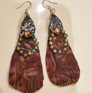 Leather and Swarovski crystal earrings